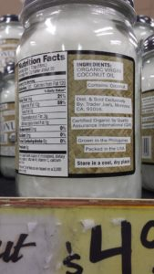 coconut oil nutrition label